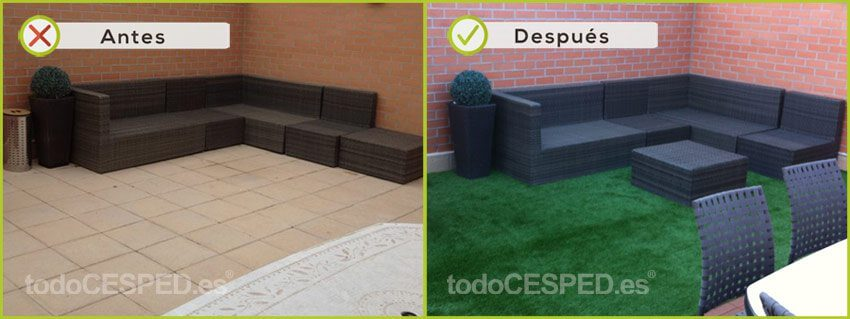 Terraza decorada con Césped Artificial