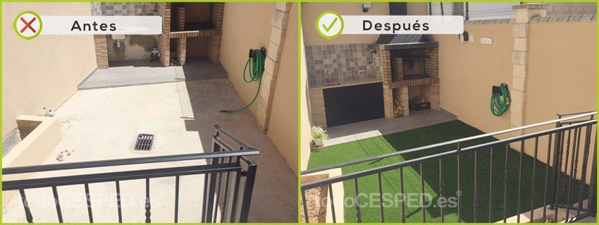 Terraza decorado con Césped Artificial