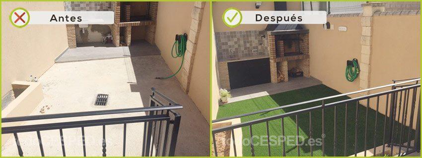 Terraza decorado con Césped Artificial
