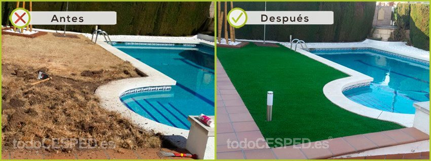 césped artificial casa con piscina